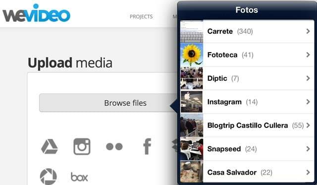 WeVideo importando material desde el iPad