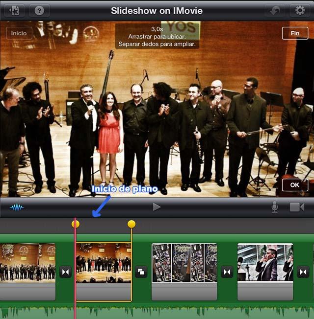 Movimiento de cámara con iMovie - Inicio de plano