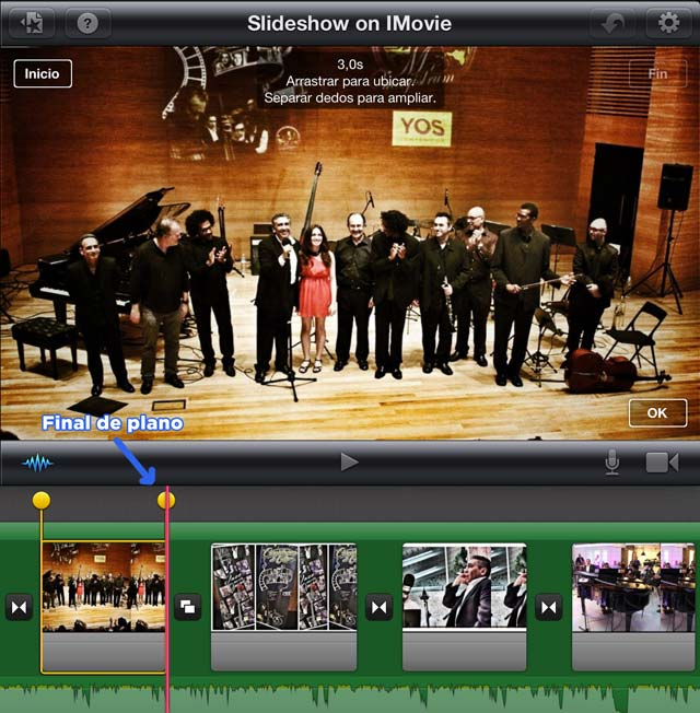 Movimiento de cámara con iMovie iPad - Final de plano