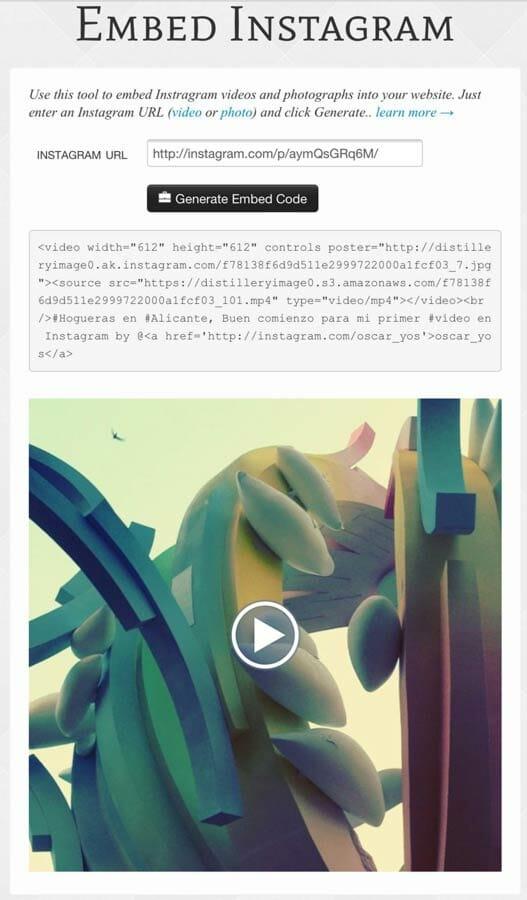 insertar vídeo y foto de Instagram desde Embed Instagram con este código