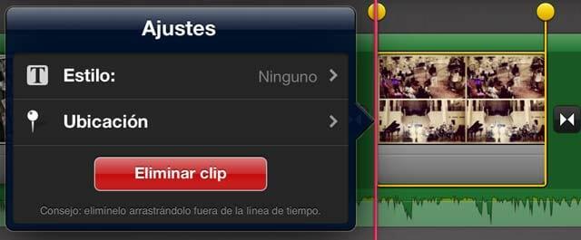 Ajustes de clip en iMovie iOS para iPad