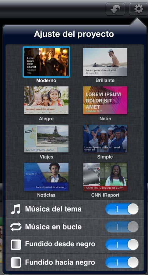 Ajustes y Temas disponibles en iMovie para iOS