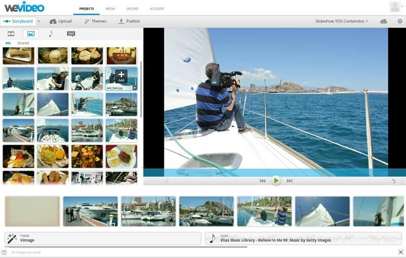 Editando el video con fotos en WeVideo