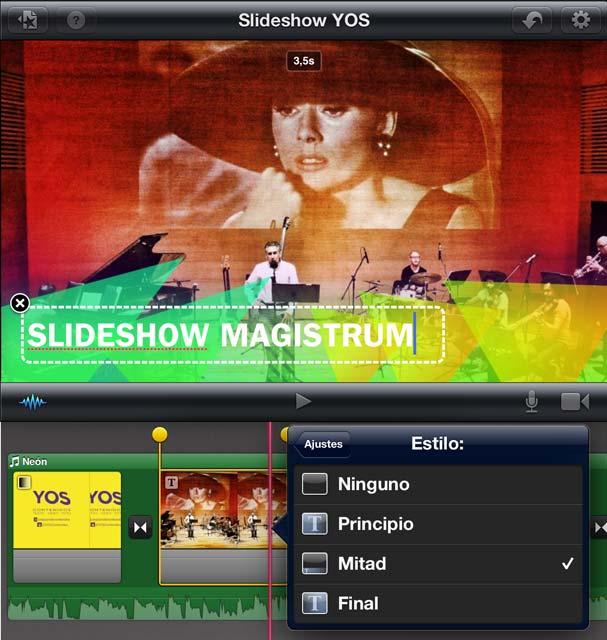 Menú de titulación en iMovie iOS iPad