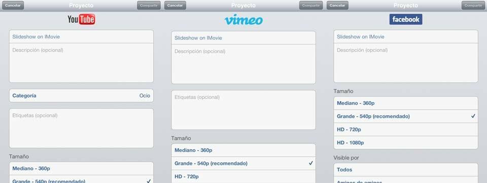 Formularios de YouTube, Vimeo y Facebook al compartir desde iMovie iOS iPad
