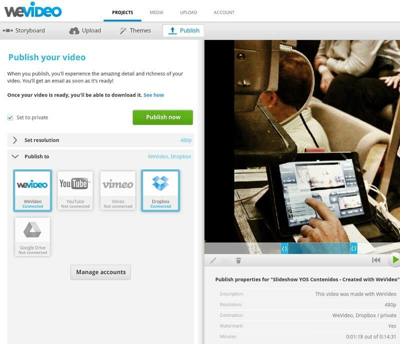 Opciones de publicación WeVideo