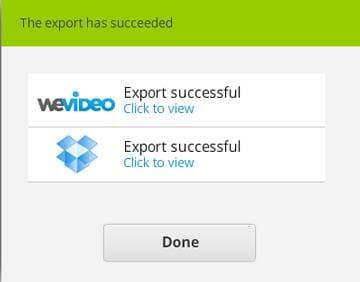 WeVideo procesado terminado de nuestro video de fotos