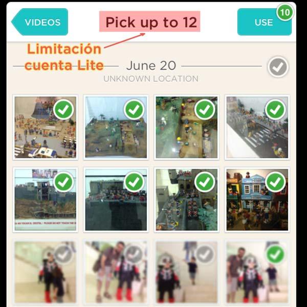 escogemos las fotos del vídeo con fotos Animoto