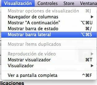 Cómo ver la barra lateral de iTunes