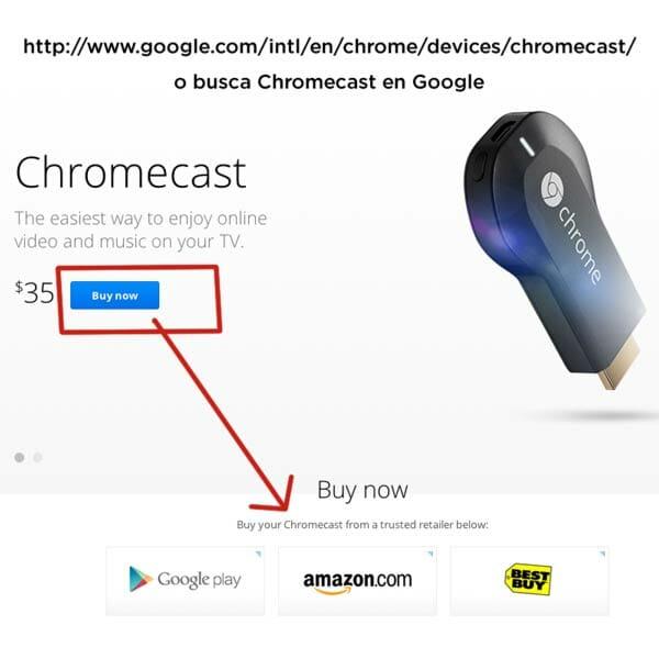 Instrucciones para comprar el Chromecast en la página oficial de Google