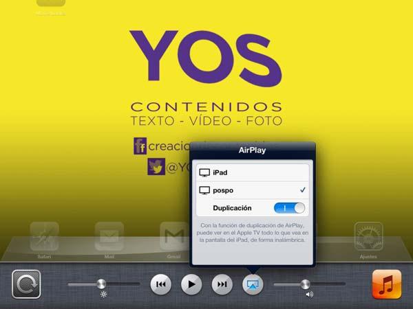 Pantalla del iPad para configurar el airplay
