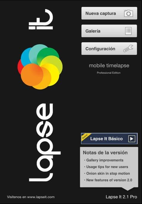 Imagen de la pantalla de incio de Lapse It Pro, aplicación para hacer Time Lapse en Android y en iOS