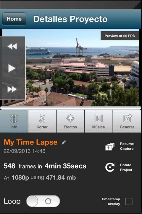 Lapse It Pro ventana de detalles de proyecto