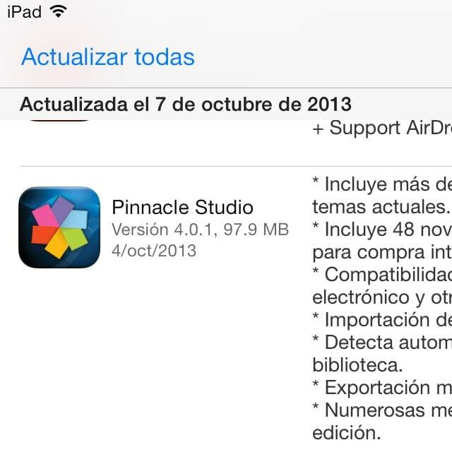Problemas iOS 7 con el Pinnacle Studio 4.0.1
