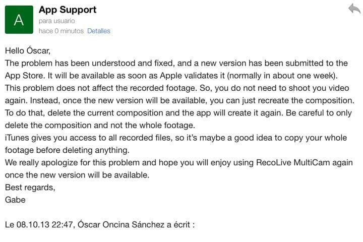 Mail de respuesta de soporte de Recolive Multicam