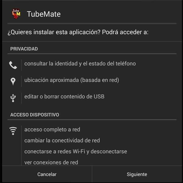 App TubeMate de Android para descargar vídeos de YouTube - Permisos de Instalación en sistema