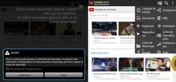App TubeMate de Android para descargar vídeos de YouTube - Menú de uso