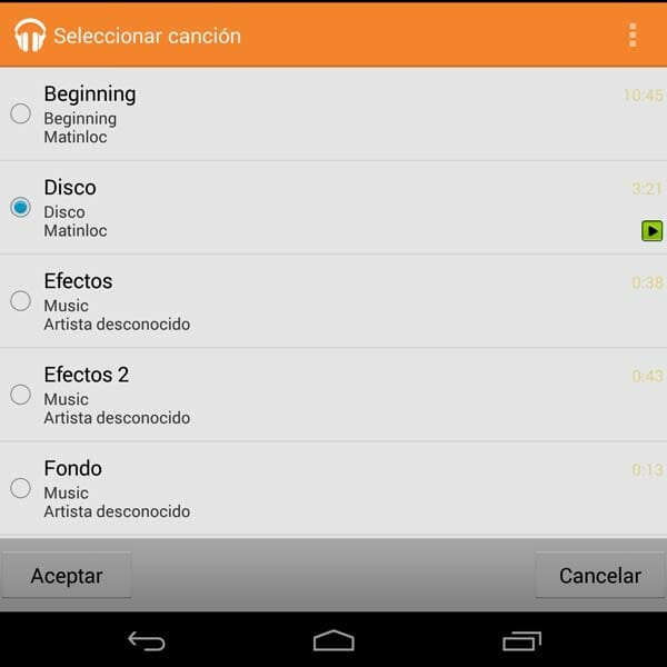 Canciones a elegir en VIdeoPad para Android