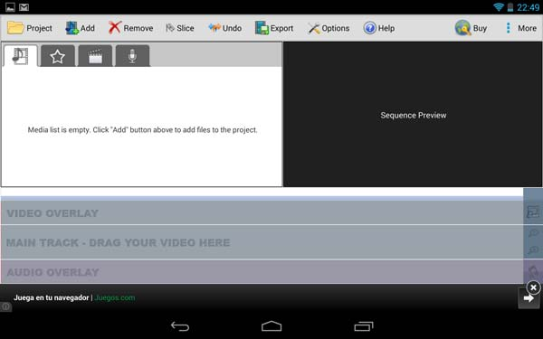 Android VideoPad pantalla inicial
