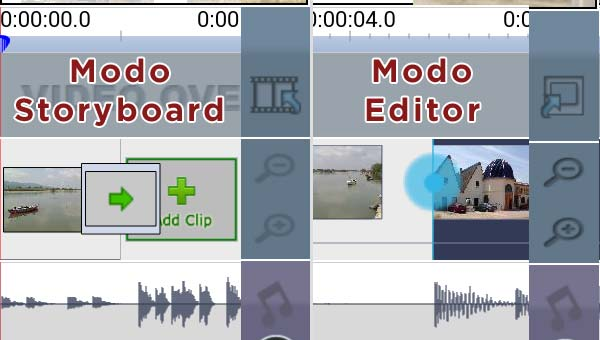 Video editor para Android - VideoPad: elige modo editor o storyboard