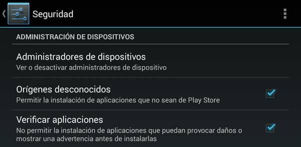 Ajustes de Seguridad para poder instalar una APP de Android