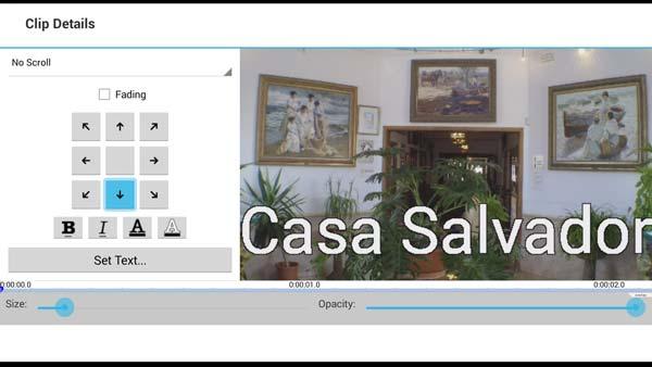 Pantalla de titulación VideoPad Android