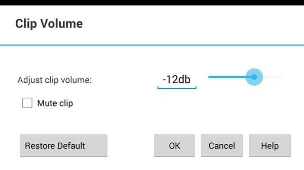 VideoPad Android - Volumen de los clips de vídeo