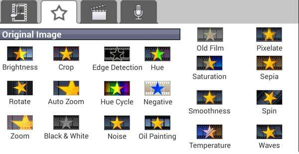 Listado de FX para vídeo en VideoPad para Android
