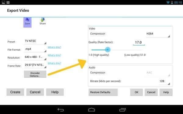 Configuración de la compresión final del vídeo VideoPad