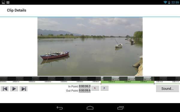 VideoPad para Android, pantallazo de los detalles de clip
