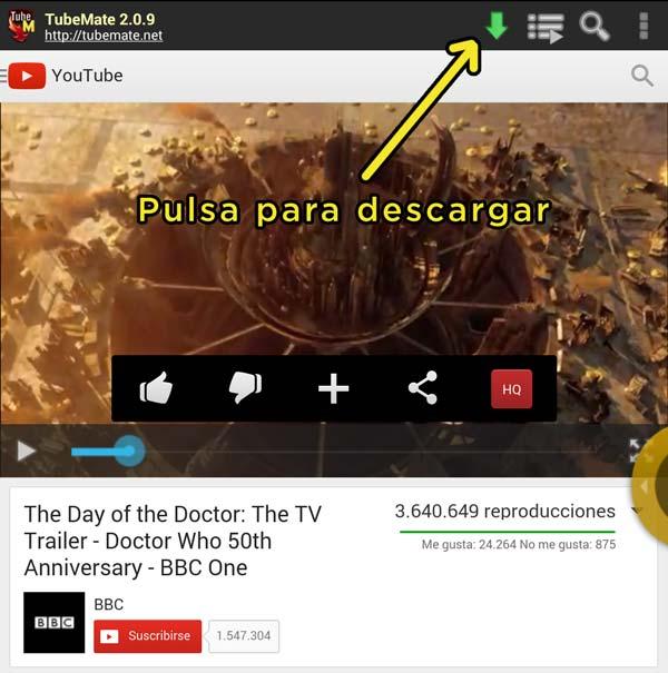 Puedes pulsar en la flecha verde para descargar el fichero de vídeo en TubeMate