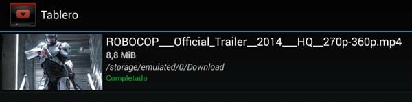 YouTubeDownloader Fichero terminado de descargar