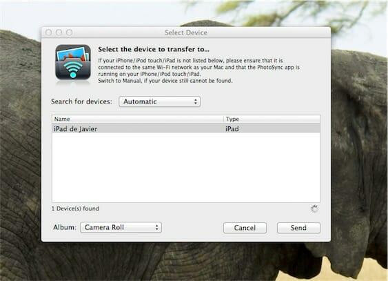 Photosync del ordenador al iPad/iPhone