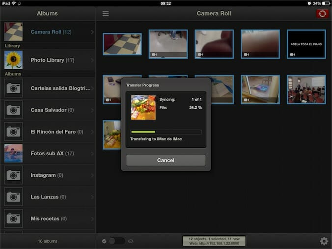 Photosync transfiriendo un archivo