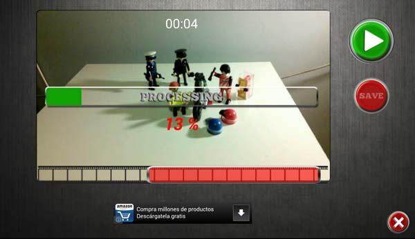 Renderizado de un vídeo de efectos especiales Android tras grabarlo