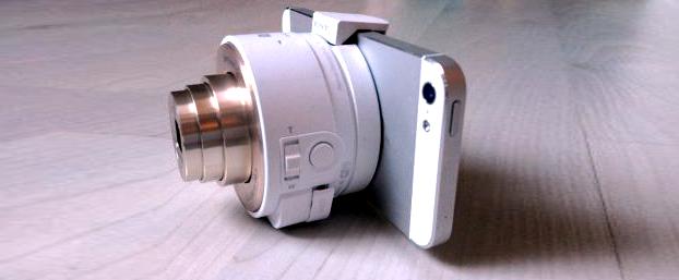 Cámara autónoma de la Serie QX de Sony diseñada para hacer fotos y vídeos con móviles