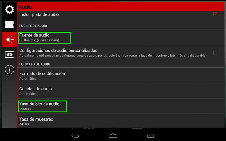 Cinema FV-5 la aplicación de grabación con dispositivos móviles para Android - Ajustes de sonido