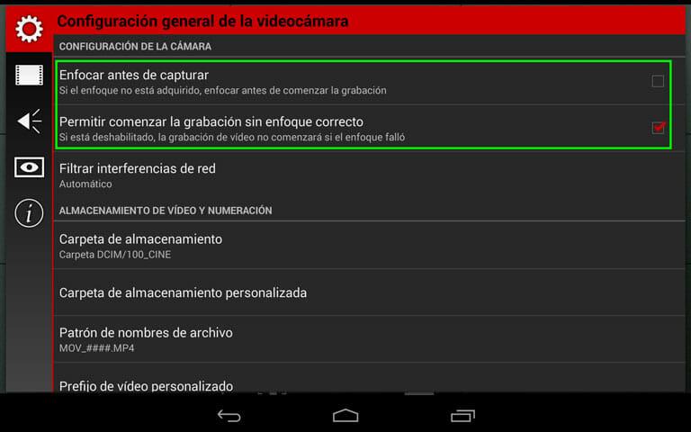 Cinema FV-5 la aplicación de grabación con dispositivos móviles para Android - Ajustes de enfoque