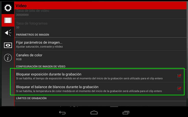 Cinema FV-5 la aplicación de grabación con dispositivos móviles para Android - Ajustes de vídeo