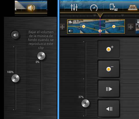 Posibilidades de tratar el audio de manera independiente en cada plano, en el editor de vídeo Kinemaster para Android