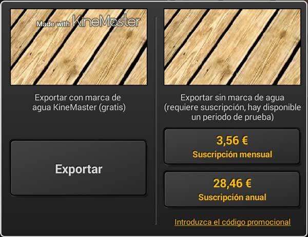 KineMaster tiene un método de suscripción mensual o anual