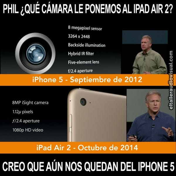 Pequeña broma con meme incluido que hemos preparado con motivo de la presentación del iPad Air 2 y su cámara