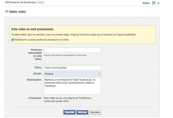 Cómo publicar un vídeo en Facebook