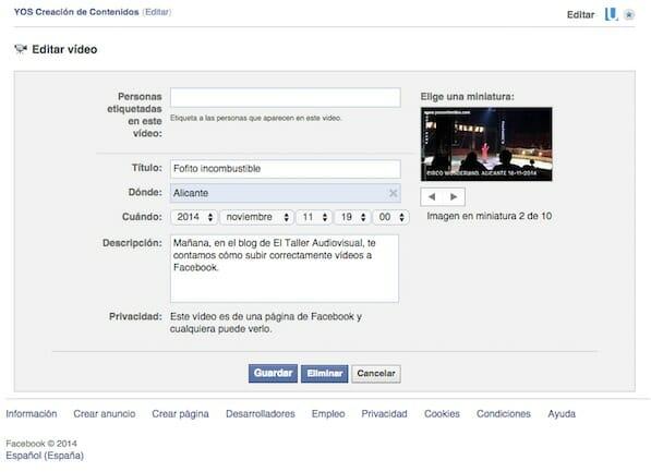 cómo subir videos en Facebook