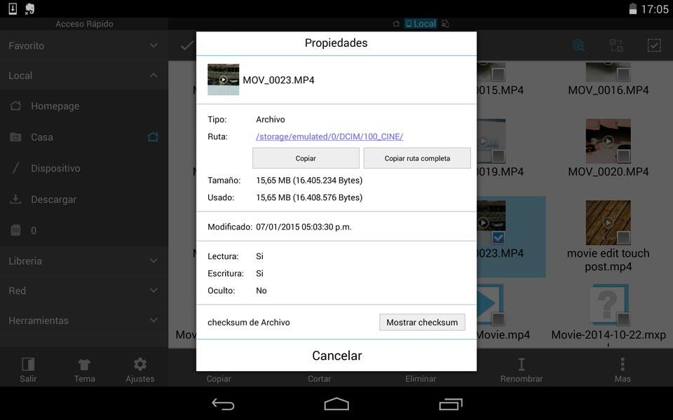 Ruta de grabaciones hechas en el Cinema FV 5 para Android