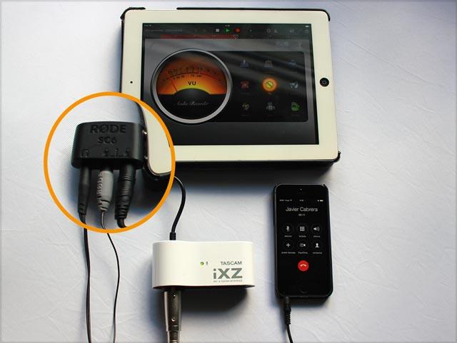 Rode SC6 con Smartlav+ y fuente de audio externa a través de un Tasca iXZ- grabando una llamada de teléfono