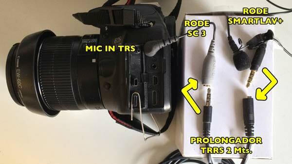 Canon + Smartlav+ + Prolongador TRRS