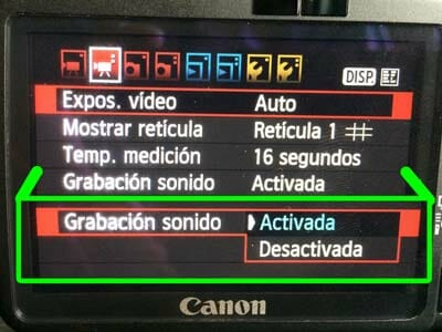 Parámetros para grabar audio en una Canon 550D