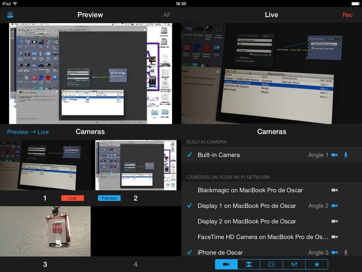 Recolive Multicam con varias fuentes de vídeo