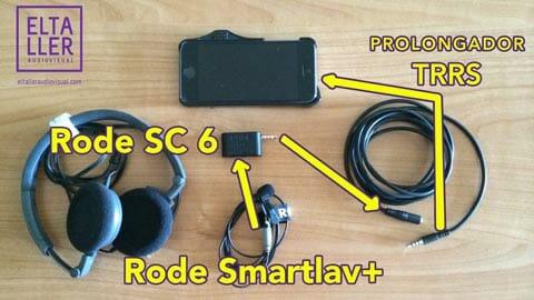 Micrófono de corbata para móvil Smarlav+ conectado a través de un Rode SC6